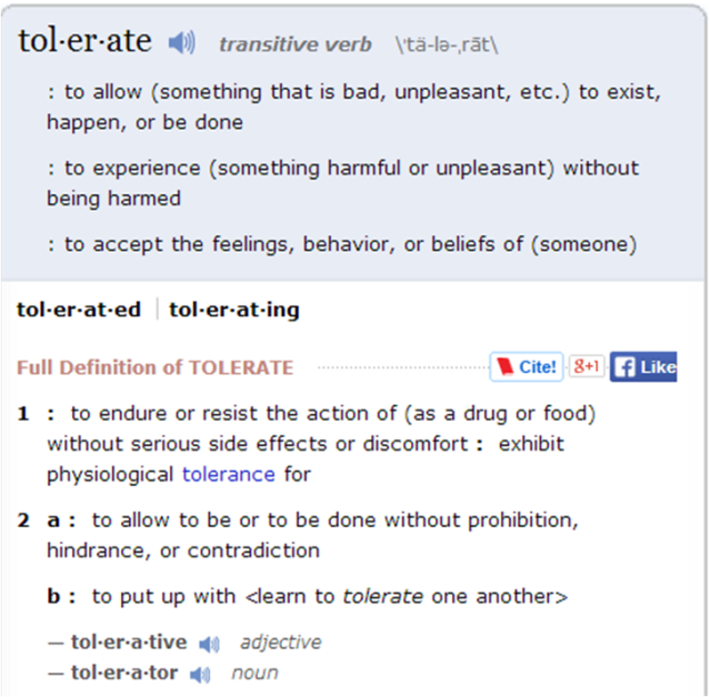 tolerate definition