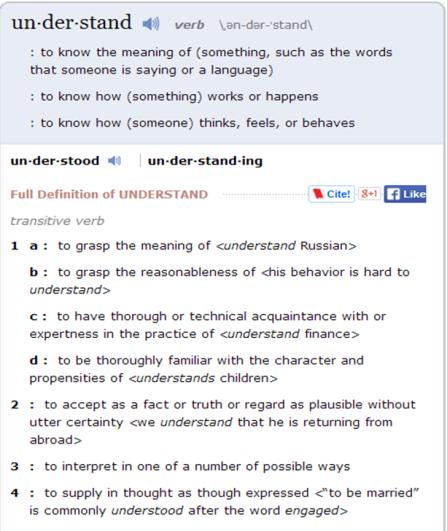 understand defin