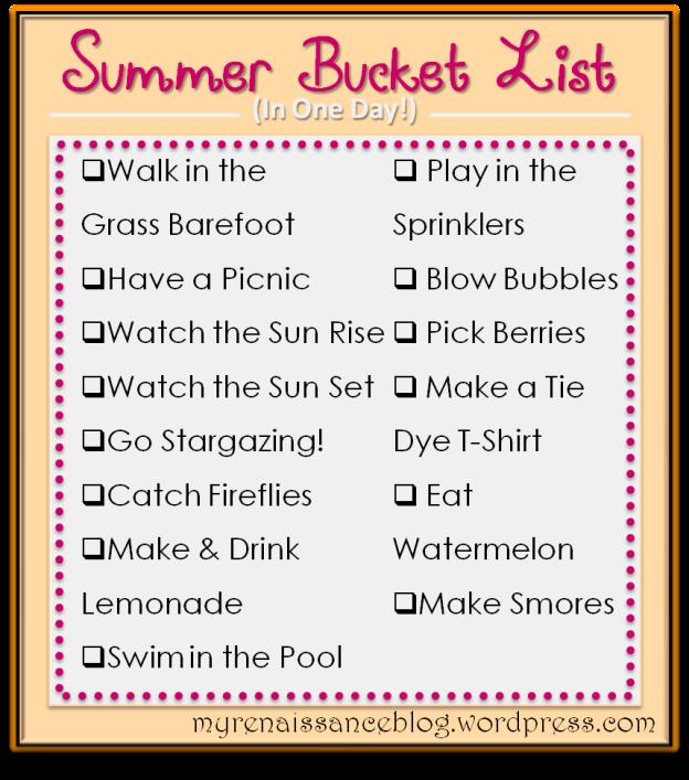 summer bucket list in one day